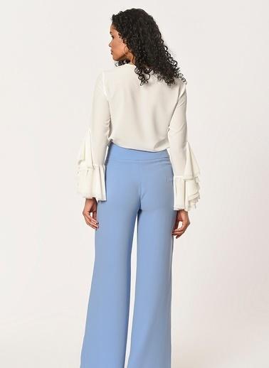 Mizalle Önü Fırfırlı Pantolon  Mavi